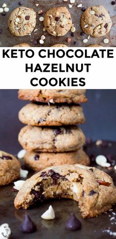Make. These. Cookies. Stat! With chunks of white and dark chocolate AND hazelnuts, these are the BEST keto cookies ever! These Keto Chocolate Hazelnut Cookies are soft, chewy, gluten-free, and grain-free and begging to come out of your oven! #allthenourishingthings #ketocookies Low Carb Recipes, Real Food Recipes, Cookie Recipes, Dessert Recipes, Chocolate Hazelnut Cookies, Chocolate Desserts, Keto Cookies, Gluten Free Cookies, Gluten Free Grains