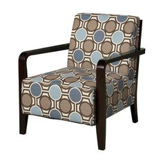 Bentwood Arm Accent Chair With Brown, Tan U0026 Blue Patterned Fabric   A  Modern Eyecatching