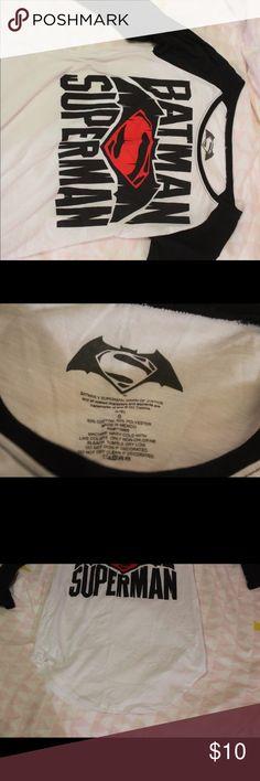 Batman Superman Baseball Tee Only been worn once and still in great condition Tops Tees - Long Sleeve