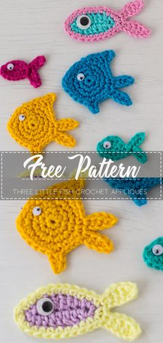 Three little fish crochet appliques – Pattern Free – Easy Crochet Beau Crochet, Crochet Diy, Crochet Amigurumi, Crochet Gifts, Irish Crochet, Crochet Applique Patterns Free, Crochet Shoes Pattern, Free Pattern, Crochet Appliques