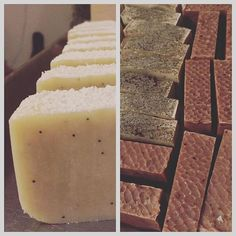 'Tis the season for #soap !! I've made 3 batches already this week.  They take 6 weeks to cute, right in time for the holidays.  So far I've got my traditional orange spice soap with #cedarwood #orange #pine #vetiver and #cocoa #essentialoils // #coffee with #taylormaid coffee // and my newest delight which smells absolutely #divine tropical snow storm with #peppermint #basil and #lime all #coldprocessessoap #handmade with #love #diy #naturalsoap #healthyliving #happyskin #knowyourmaker…