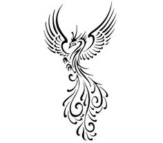 tribal phoenix tattoo... I could see this in the middle of my shoulder blades <3