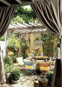 Fifteen Gardening Recommendations On How To Get A Great Backyard Garden Devoid Of Too Much Time Expended On Gardening Outdoor Curtains For Porch And Patio Designs, 22 Summer Decorating Ideas Outdoor Curtains, Outdoor Rooms, Outdoor Dining, Outdoor Gardens, Outdoor Decor, Dining Area, Rooftop Gardens, Pergola Curtains, Outdoor Seating