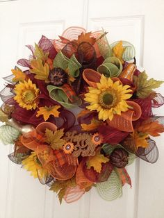 Festive Fall Sunflower Decomesh wreath on Etsy, $48.00