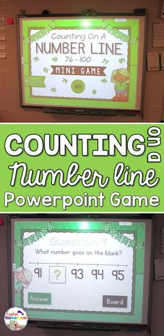 Counting on a Number Line 76 - 100 Mini Powerpoint Game Distance Learning 1st Grade Activities, 1st Grade Math, Too Cool For School, School Stuff, Powerpoint Games, Teacher Helper, Numbers Kindergarten, Math Task Cards, Math Centers