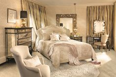 "Arhaus. ""Reminiscent of old Hollywood glamour with graceful details"" I think I'll go move my bedroom furniture around. No rules... will it suck? Dreams Bedrooms, Beds, Guest Bedrooms, Arhaus Furniture, Bedroom Furniture, Interiors Design, Luxury Bedrooms, Master Bedrooms, Bedrooms Furniture"