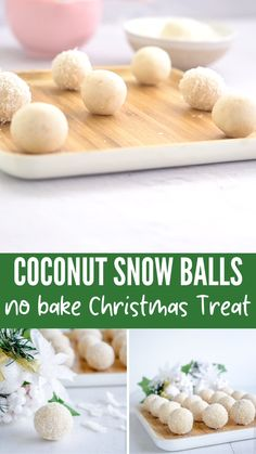 Healthy Christmas Coconut Snow Balls - These Healthy Coconut Snowballs are a much loved no bake Christmas treat, Perfect for kids, an eas - Healthy Christmas Treats, Christmas Snacks, Xmas Food, Christmas Cooking, Holiday Treats, Holiday Recipes, Easy Christmas Baking Recipes, Christmas Meal Ideas, Christmas Baking For Kids