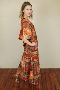 Vtg 70s Patchwork Print Ethnic Boho Hippie Maxi Dress Medium | eBay