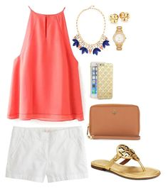 """""""peach kiss"""" by molliekatemcc ❤ liked on Polyvore featuring J.Crew, Stella & Dot, Tory Burch, Kate Spade, Sonix and mksfavs"""