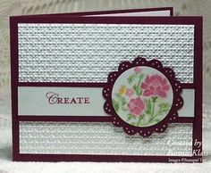 Love, love, love this card by Bonnie Klass!... And it's beautiful made with this SU embossing folder I've been trying to get my hands on! I've seen many cards made with it and want it really bad! (I ordered it last OCT... six months ago, and have never heard back from the rep! Go figure)