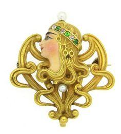 Art Nouveau Garnet Diamond Pearl Enamel Brooch Pendant