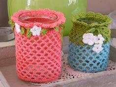 Een streepje zonlicht: crochet candle holder