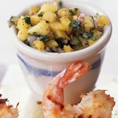 Serve homemade coconut-crusted shrimp with a sweet-and-spicy pineapple salsa for a lightened seafood dinner that's out of this world.To prepare shrimp, peel and devein shrimp, leaving tails intact. Seafood Dinner, Fish And Seafood, Seafood Meals, My Favorite Food, Favorite Recipes, Cooking Photos, Pineapple Salsa, Dole Pineapple, Cooking Recipes