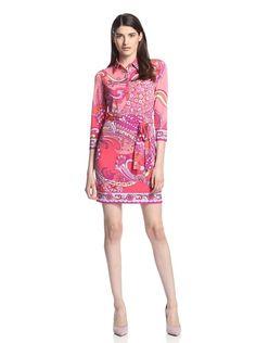 Ali Ro Women's Circus Swirl Belted Shirt Dress (Coral Multi)