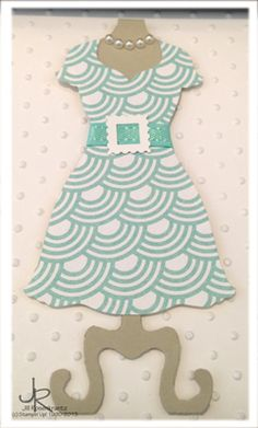 Pool Party dress using Stampin' Up! Sycamore Street designer series paper and Dress Up framelit.  By Stamping With Jill