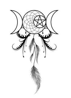 moon goddess dream catcher tattoo -
