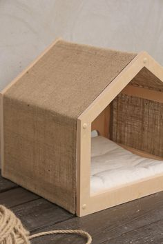 Comfortable pet cottage from eco friendly materials Small dog box Puppy furniture Сozy cat place - Comfortable pet cottage from eco friendly materials Small dog Small Dog House, Small Dogs, Small Dog Beds, Hiding Cat Litter Box, Pet Furniture, Rustic Cat Furniture, Cat Pillow, Cat Room, Soft Pillows