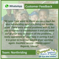 You know you are appreciated when you receive a note like this! Thank you for trusting us to repair your household appliances. Well done Team Northriding. #greatjob #customerservice #customersatisfaction #wekeepthemworking #bergensappliances #repair #northriding  Northriding Branch Follow us on Instagram and Pinterest WhatsApp:   072 864 5176 Email:   northriding@bergens.co.za Customer Feedback, Customer Service, I Really Appreciate, Knowing You, Appreciation, Household, Appliances, Note, Happy