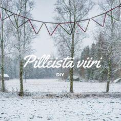 Santun Maja DIY: Viirinauha pilleistä ikkunaan. DIY straw bunting. I use it as a curtain :)