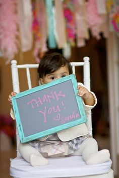 A custom framed chalkboard is the perfect for thank you cards for when they're too young to write!!