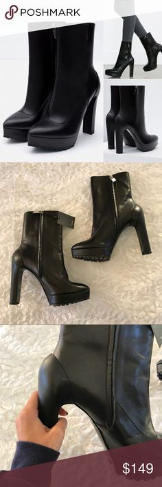 NWT Zara Leather Black Heel Boots New with tag - AMAZING Zara boots! These are the most amazing boots I've ever seen from Zara. They have a few very very minor scruffs/creasing from storage. Size 40, which according to Zara size chart converts to a US 9. Zara Shoes Heeled Boots