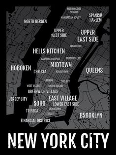 For a limited time, FREE SHIPPING ON ALL PRINTS! (Including framed and canvas prints!)  Show your local spirit with this New York City Neighborhoods - Map Typography Poster which looks great in your dorm, apartment, nursery or any other room in your house. This Map Typography Poster is a great conversation piece and allows you to celebrate your favorite neighborhoods in NYC through a vintage typographic design. The New York City Neighborhoods - Map Typography Poster works well as stand-alone...