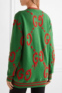 Gucci - Reversible Wool Jacquard-knit And Printed Silk-twill Cardigan - Green - x small