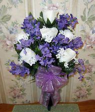 White Roses Lavender Lilacs Cemetery Headstone Memorial Day Vase Arrangement