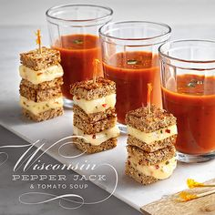 Mini Pepper Jack Grilled Cheese and Tomato Soup Shooters