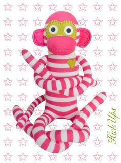 HickUps Sockenaffe Pink Weiss - loverares.de