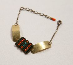Circuit Bracelet with hammered brass orange beads by AMiRAjewelry