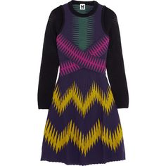 M Missoni Printed ribbed jersey mini dress ($448) ❤ liked on Polyvore featuring dresses, purple, ribbed dress, long-sleeve mini dress, purple jersey, colorful dresses and purple mini dress