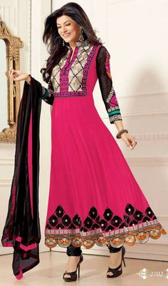 USD 98.86 Sushmita Sen Bollywood Pink Georgette Anarkali Style Suit28115