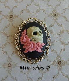 broche camée tête de mort crâne mexicain sugar skull : Broche par mimischka