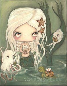 Mermaid Art Painting Nautical Tea Octopus, Fish Sea Turtle Girl Original Wall Art ---Tea At Sea 11 x 14