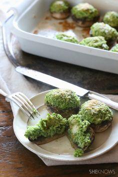 Healthy cauliflower kale stuffed mushrooms recipe