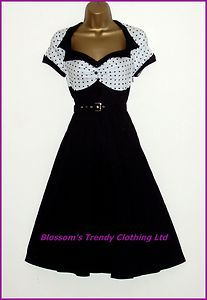 Vintage 50's Jive Full Circle Swing Black/White Polka Dot Dress Size 10-18 Party | eBay