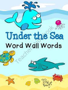 Under the Sea -- Word Wall Words Turtle Classroom, Classroom Pets, Future Classroom, School Fun, First Day Of School, Back To School, School Ideas, Classroom Calendar, Ocean Unit