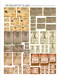 Seeing Things: Tiny Medicine Bottle Labels - also a tutorial on attaching labels to the bottles.....great blog!!!