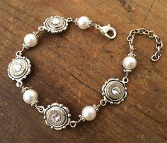 Bullet Bracelet - Bullet Jewelry - Dainty Silver Pearl Bracelet w/ Nickel 9mm's, 38 SPL's or 40's on Etsy, $39.95
