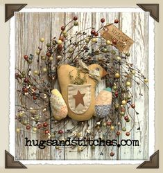 Prim Spring Wreath...country & primitive Easter and spring home decor items at HugsAndStitches.com.