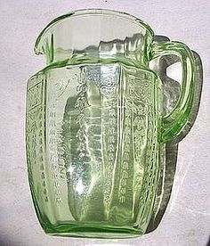 Green Princess Depression Glass 60 oz Pitcher.