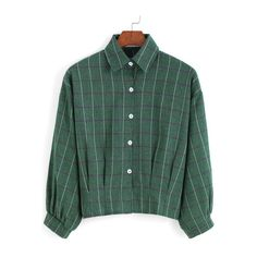 bd04901729d SheIn(sheinside) Green Lapel Plaid Buttons Crop Blouse (€8