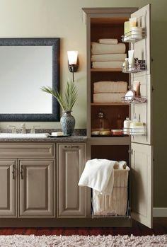 Bathroom Linen Cabinet With Hamper For Small Bathroom #repurposedfurnitureforbathroom