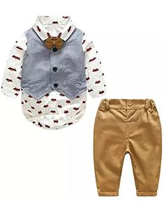 Baby Boy Gentleman Suit Cartoon Foxes Bowtie Rompers Shirt + Vest + Pants Toddler 3pcs Outfit