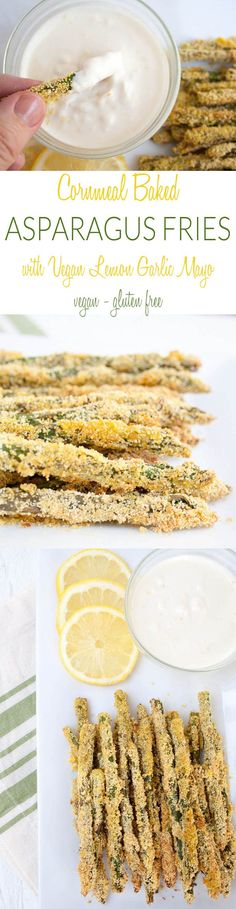 Cornmeal Baked Asparagus Fries with Vegan Lemon Garlic Mayo (vegan, gluten free) - These crispy fries are healthy and addictive! They are served with an amazing Vegan Lemon Garlic Mayo.