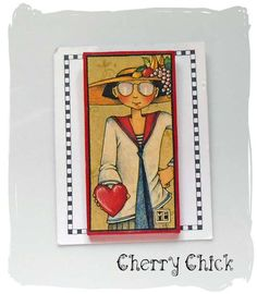 """Here"" Mary Engelbreit Vintage wood decoupaged pin... #CherryChick #MaryEngelbreit"