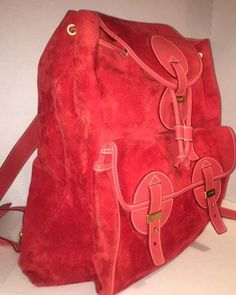 78e58a1aa668bb Details about EXCEPTIONAL Vintage GUCCI Large Backpack Red Suede with  Leather Straps