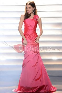タフタワンショルダーひだ飾りボディスシース床長さイブニングドレス
