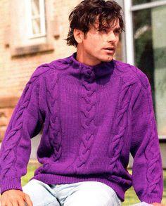 Hand Knitted men's turtleneck sweater v-neck men crewneck